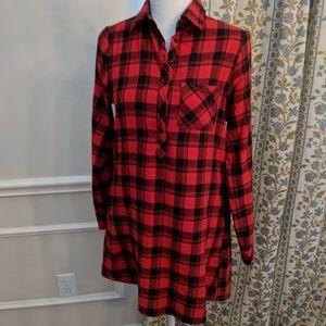 En Creme Tunic S Red Flannel Shirt Plaid Henley